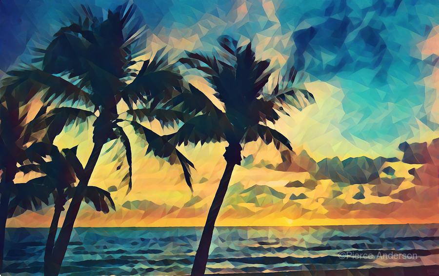 florida palm trees art  Print