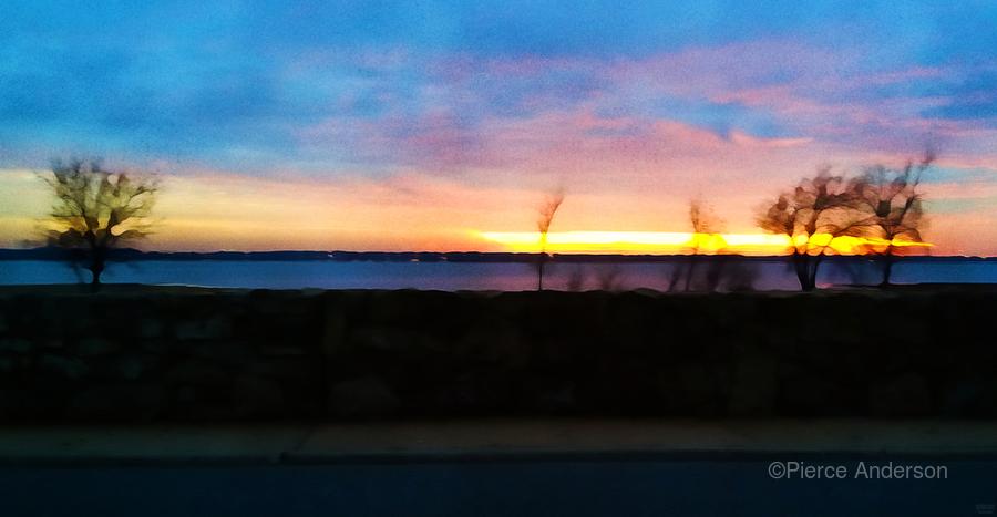 lake sunset 4 trees  Print
