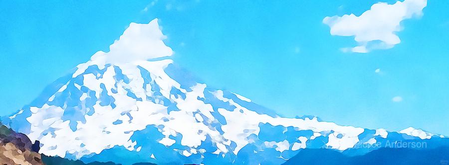 mt ranier art blue sky  Print
