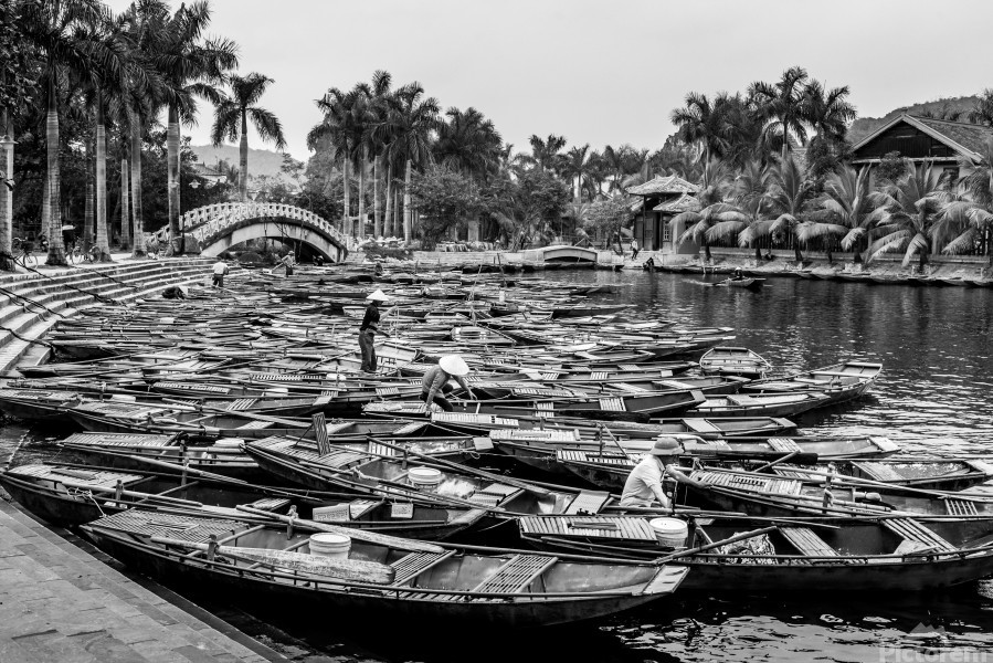 Boats in the river of Vietnam  Print