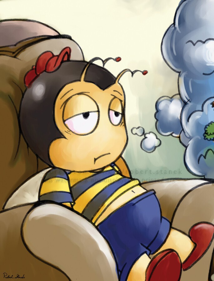 Exhausted - Thoughts on a Long Day - Buster Bee  Print