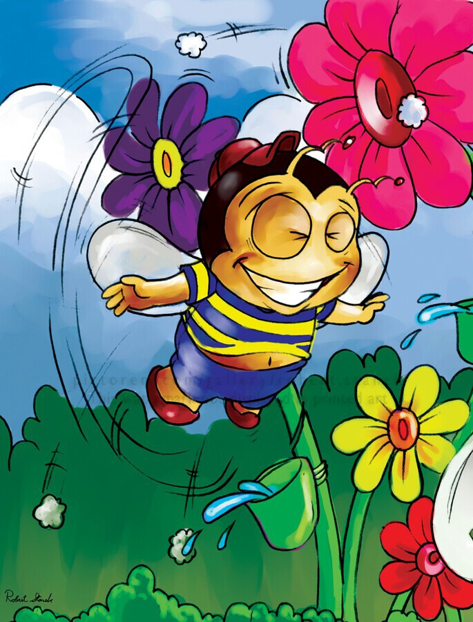 Happiness - Flower Power Buster Bee  Print