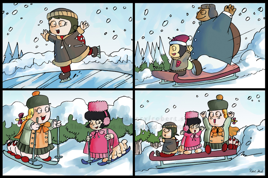 Winter Wonderland Fun   Ice Skating  Sledding and Tobogganing   4 panel Favorites for Kids Room and Nursery   Bugville Critters  Print