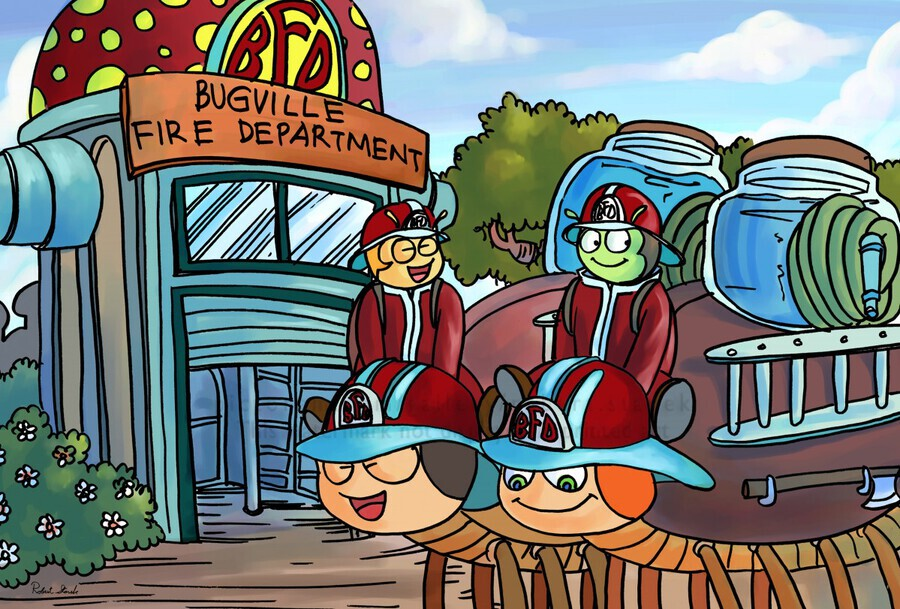 At the Fire Department - Places in Bugville Collection 2 of 4  Print