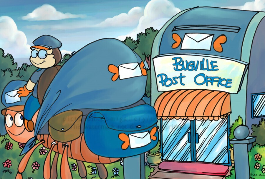 At the Post Office - Places in Bugville Collection 1 of 4  Print