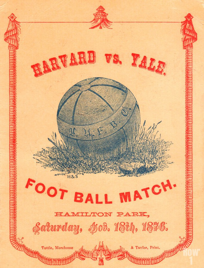 1876 Harvard vs. Yale Football Program Art  Print