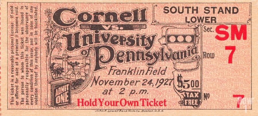 1927 cornell penn ivy league football ticket stub collection  Print