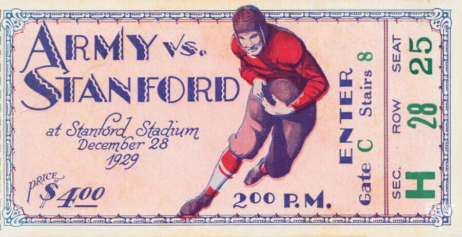 1929 Stanford Football Ticket Stub Art  Print