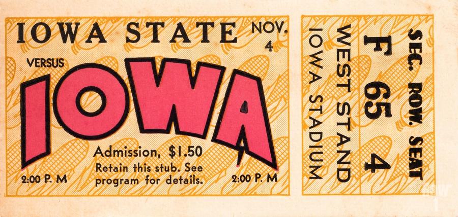 1933 Iowa State vs. Iowa Football Ticket Art  Print