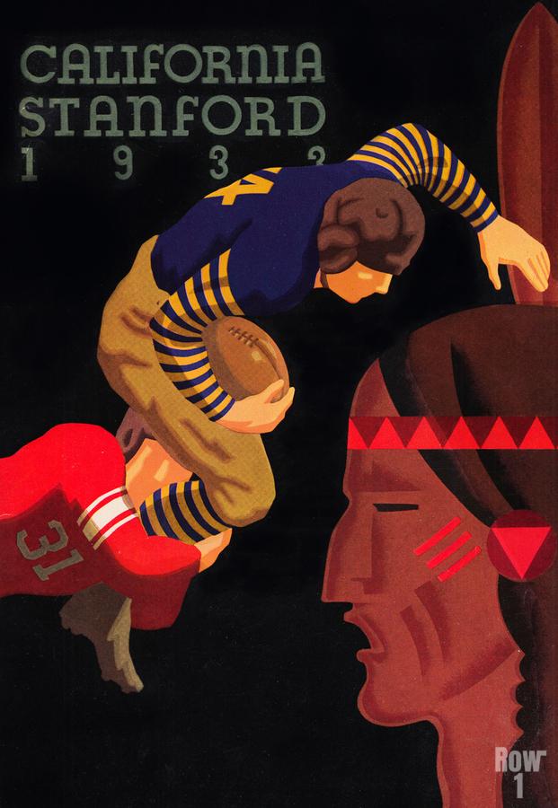 1933 Stanford vs. California Football Program Brushed Metal Art  Print