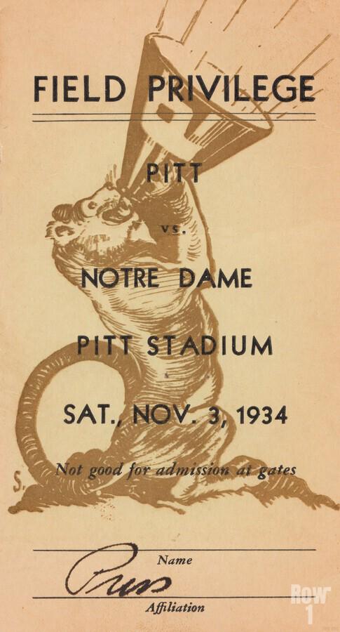 1934 Pitt vs. Notre Dame Football Press Pass  Print