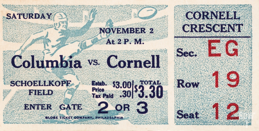 1935 Columbia vs. Cornell Football Ticket Art  Print