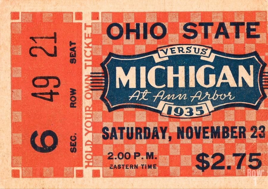 1935 Michigan Wolverines vs. Ohio State Buckeyes Ticket Art  Print