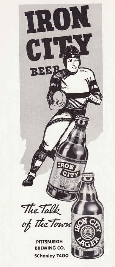 1937 Iron City Beer Vintage Football Ad  Print