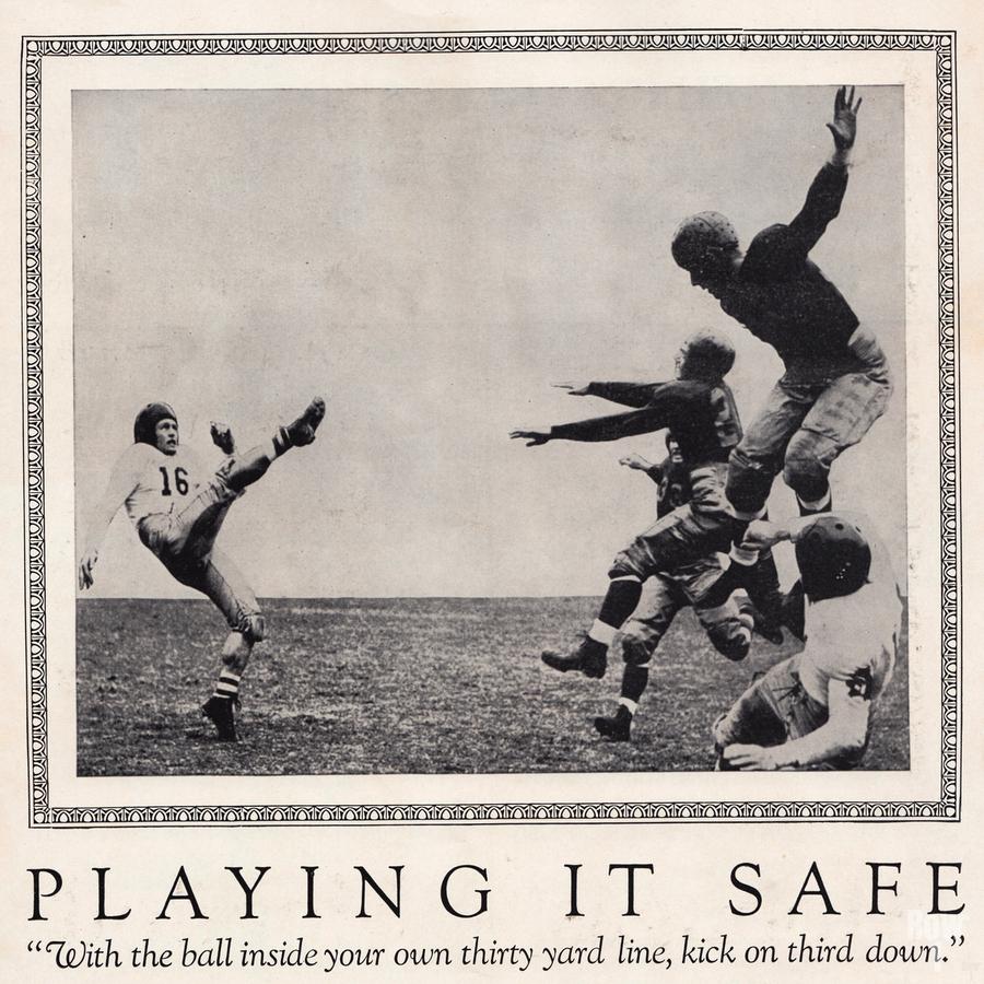 1938 Football Play it Safe Kick on Third Down  Print