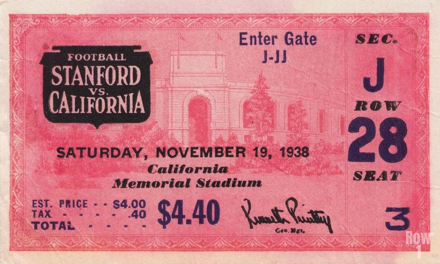 1938 Stanford Indians vs. Cal Bears Big Game Ticket Stub Art  Print