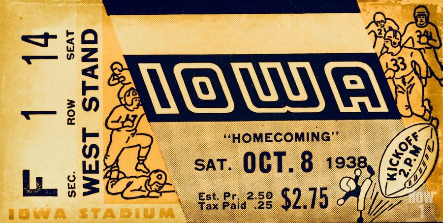 1938 Iowa Hawkeyes Football Ticket Remix Art  Print