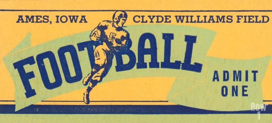 1939 Ames Football Admit One Ticket  Print