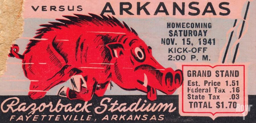 1941 Arkansas Razorbacks Ticket Stub Art  Print
