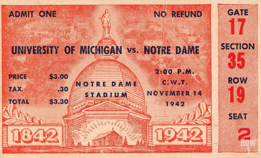 1942 Michigan vs. Notre Dame Football Ticket Stub Art  Print