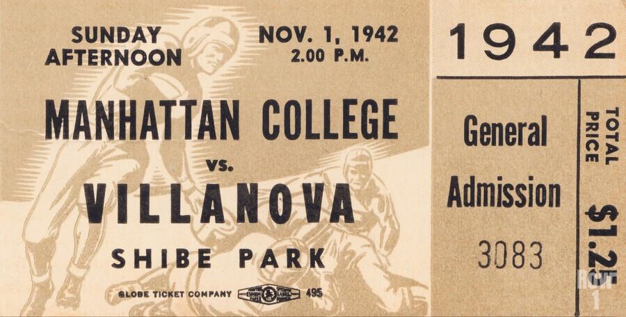 1942 Villanova vs. Manhattan Football Ticket Art  Print