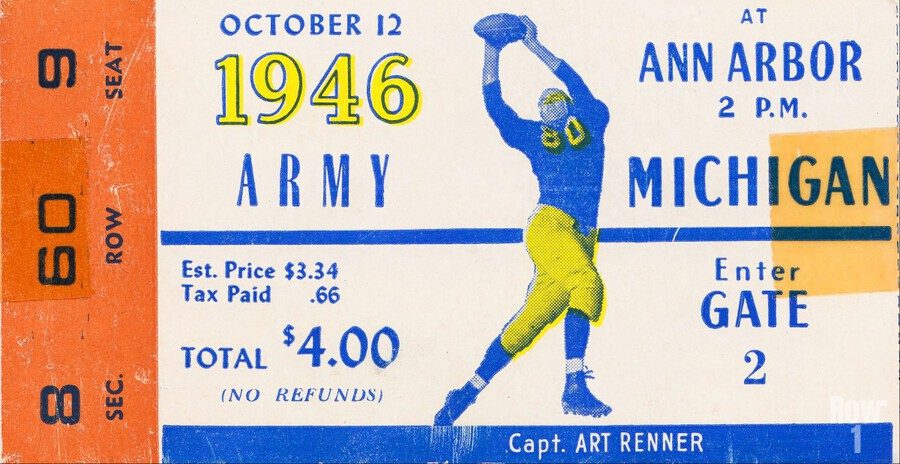 1946 michigan army ann arbor college football ticket art  Print