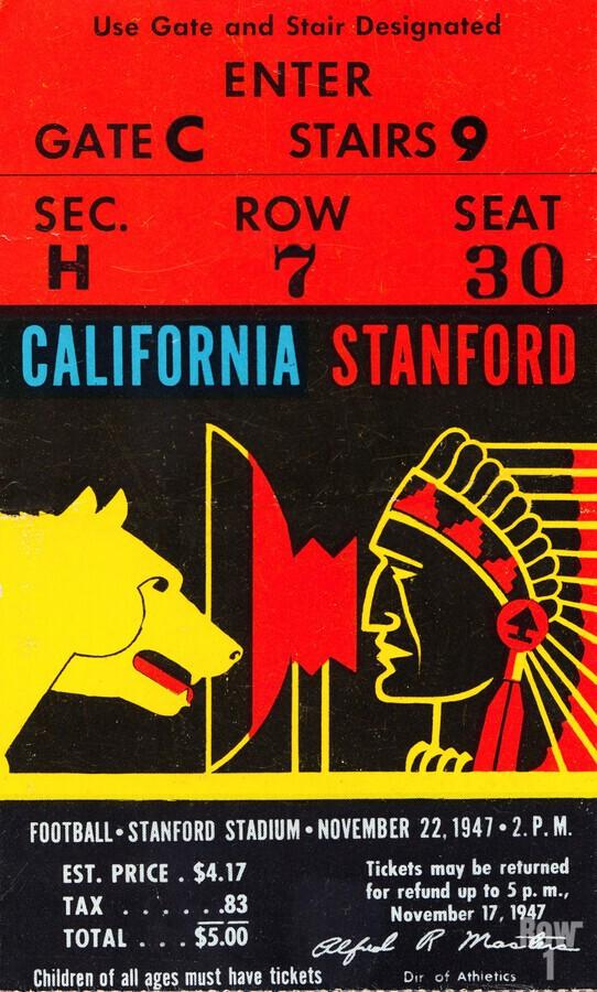 1947 Cal vs. Stanford  Print