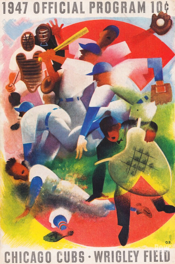 1947 Chicago Cubs Program Otis Shepard Art  Print