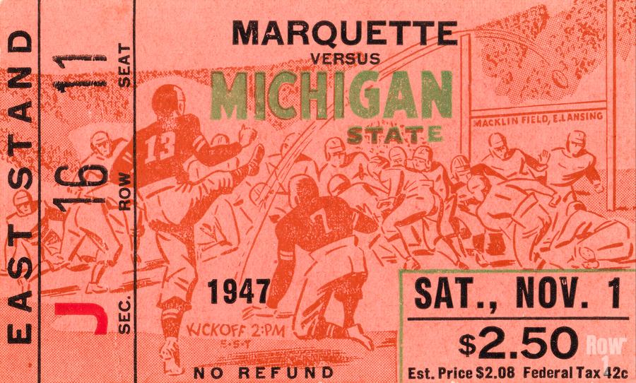 1947 Michigan State Spartans vs. Marquette Hilltoppers   Print
