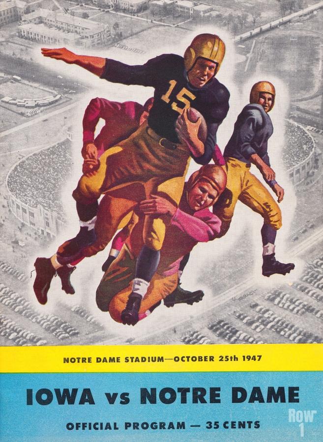 1947 Notre Dame vs. Iowa Football Program Cover Art  Print