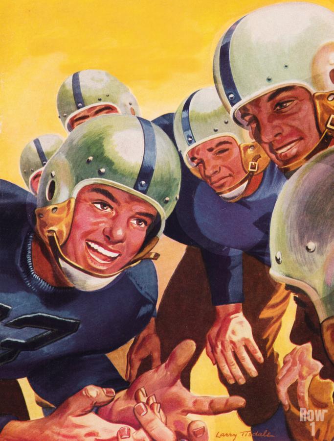 1947 Vintage Football Art Inside the Huddle  Print