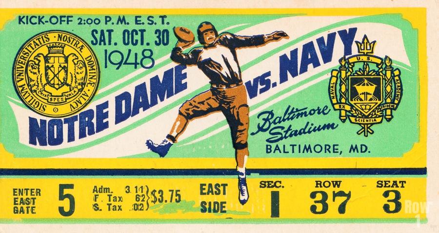 1948 Navy vs. Notre Dame Football Ticket Art  Print