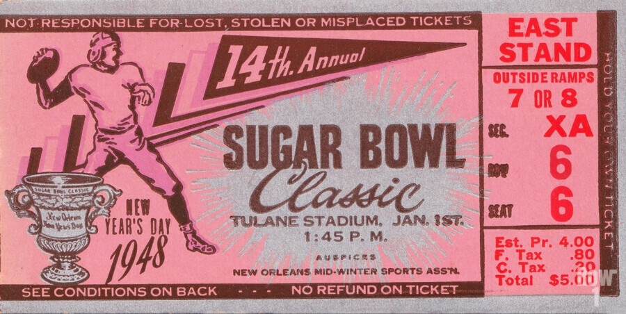 1948 Sugar Bowl Ticket Art Texas Win  Print