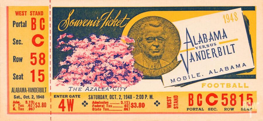 1948 Vanderbilt vs. Alabama Ticket Art  Print