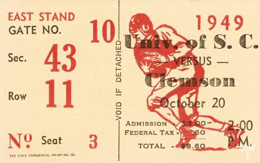 1949 south carolina gamecocks palmetto bowl ticket stub wall art metal sign wood prints  Print