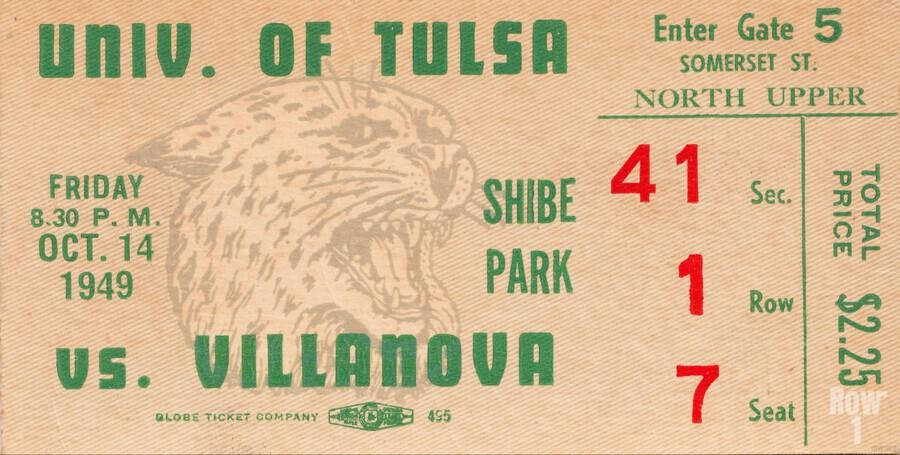 1949 Tulsa vs. Villanova Football Ticket Stub Wall Art  Print