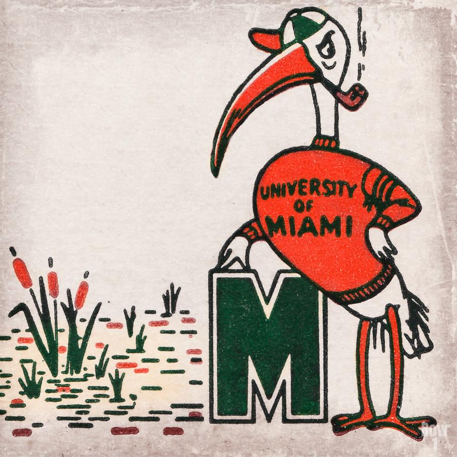 Vintage Fifties Miami Hurricane Art  Print