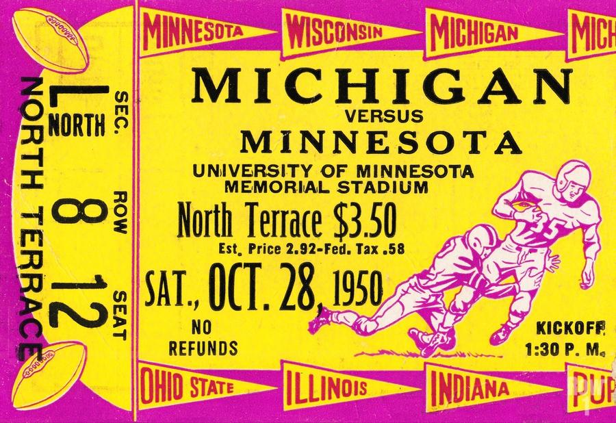 1950 Minnesota Golden Gophers vs. Michigan Wolverines  Print