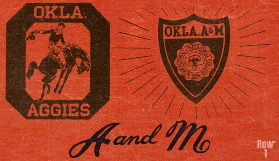 Vintage Oklahoma A&M OSU Cowboys Art  Print