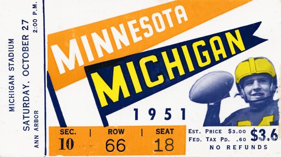 1951 Michigan vs. Minnesota Football Ticket Art  Print