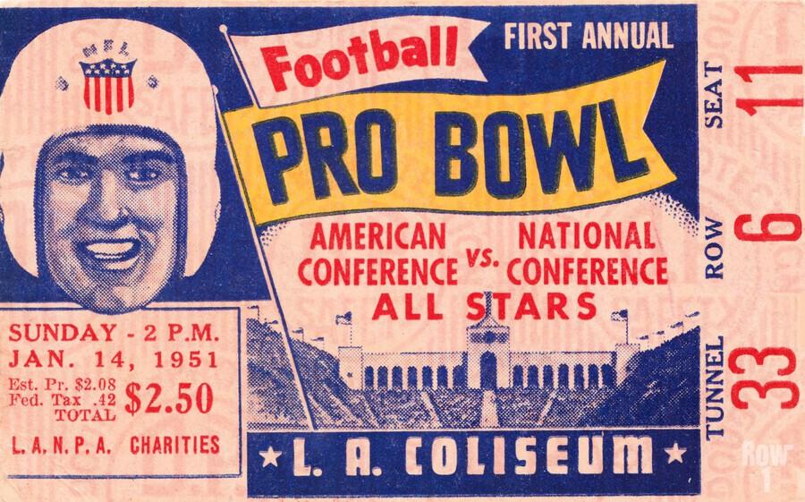 1951 First Pro Bowl Ticket Stub Art  Print