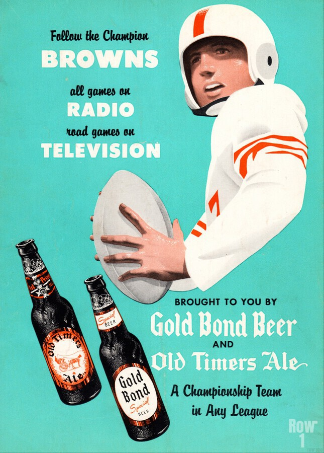 1955 Cleveland Browns Gold Bond Beer Ad  Print