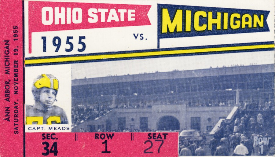 1955 Michigan vs. Ohio State Football Ticket Art  Print
