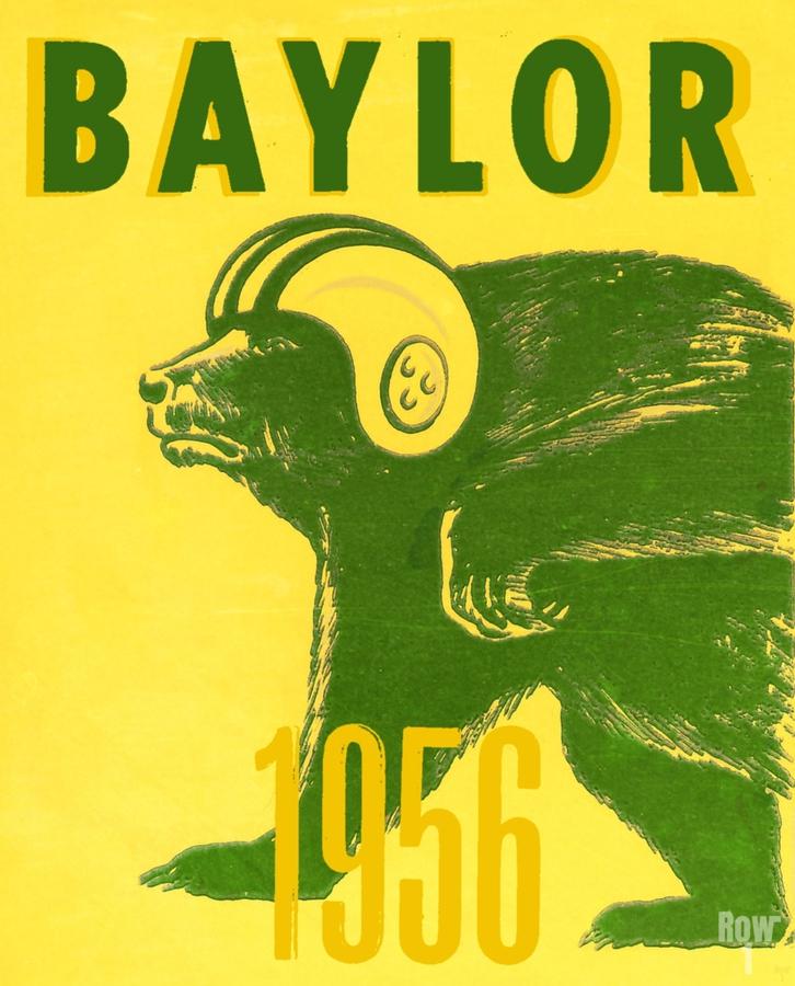 1956 Baylor Bears Vintage Football Art Remix  Print