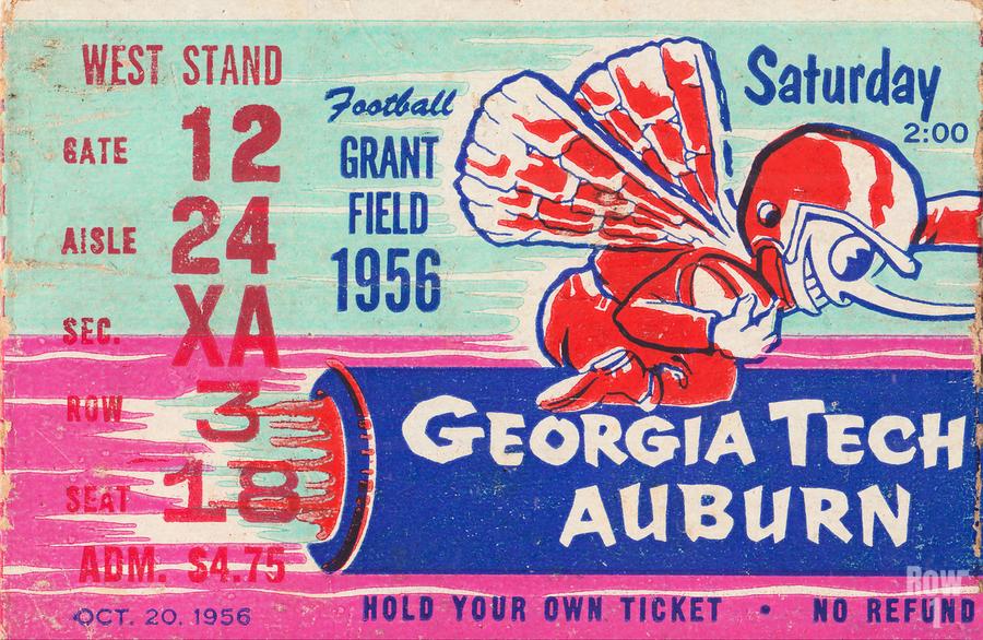 1956 Georgia Tech vs. Auburn Football Ticket Stub Art  Print