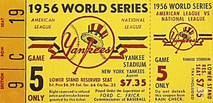 1956 World Series Perfect Game Ticket Stub Art  Print