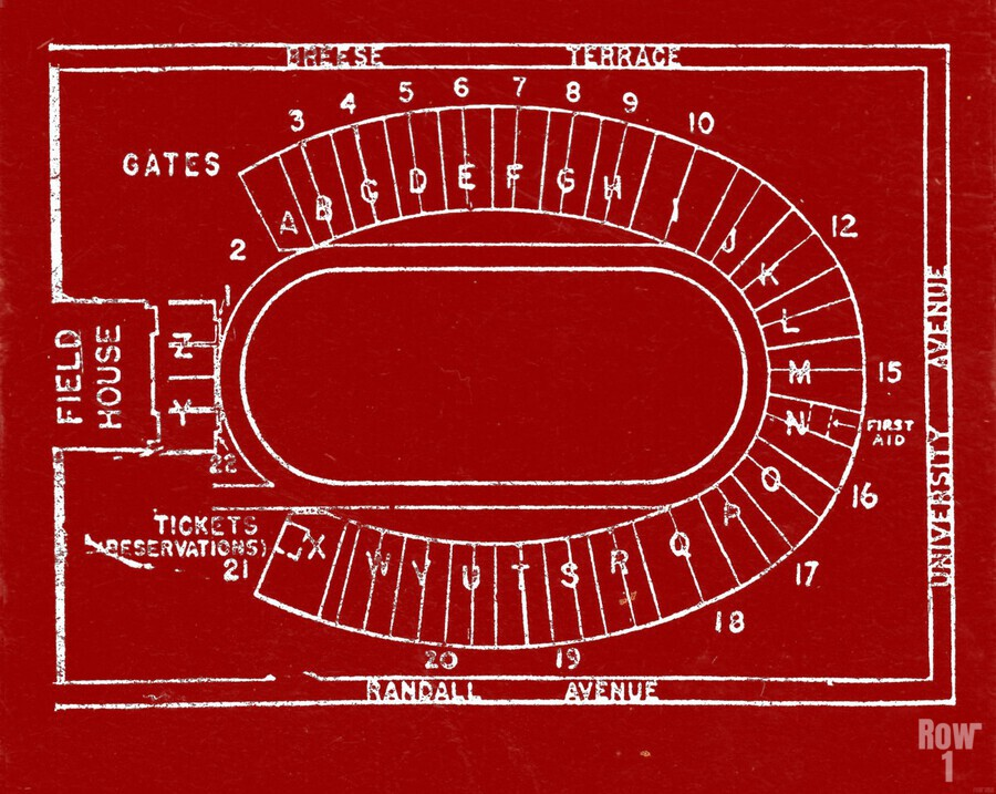1957 camp randall map art  Print
