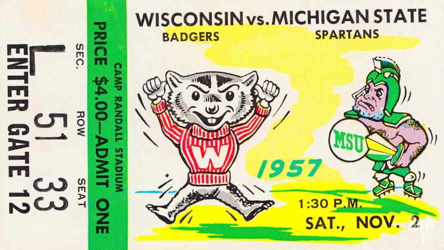 1957 Wisconsin vs. Michigan State Football Ticket Art  Print