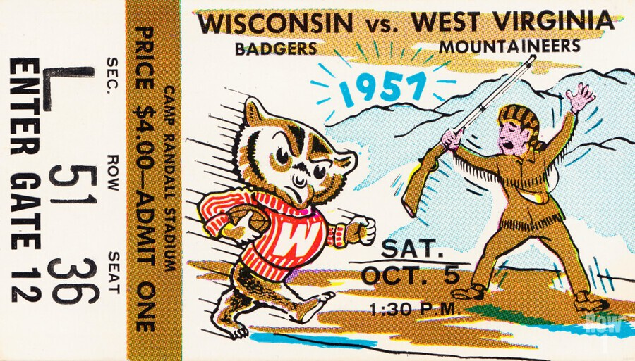 1957 Wisconsin vs. West Virginia Ticket Stub Art  Print