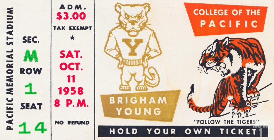1958 college of the pacific brigham young football ticket art  Print
